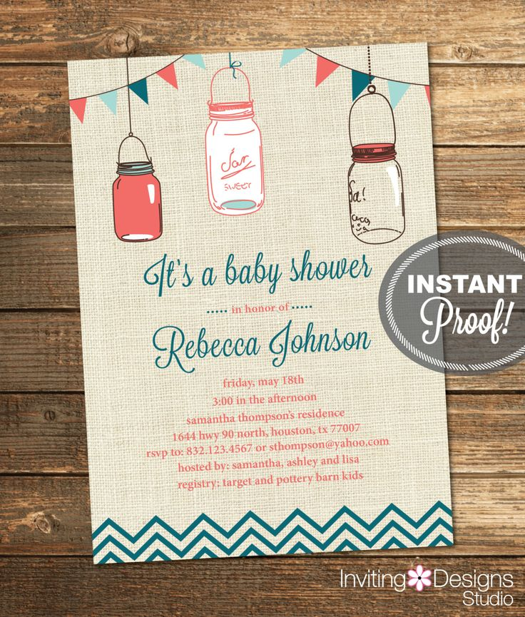 Mason Jar Baby Shower Invitation, Country Baby Shower, Teal, Coral, Pink, Girl, Rustic, Burlap, Printable File (Custom, INSTANT DOWNLOAD) by InvitingDesignStudio on Etsy