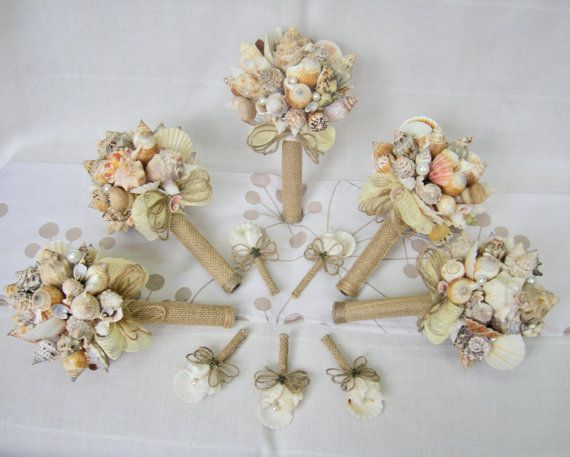 5 Sea Shell Small Bouquets Boutonnieres Bridal Bouquet Beach Wedding Handmade Nautical Seaside
