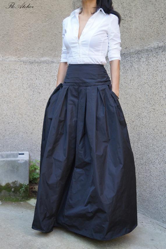 92856b769f7fc Lovely Black Long Maxi Skirt  High or Low Waist Skirt  Long
