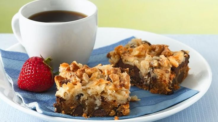Indulgent homemade bars are in the oven in 10 minutes thanks to a quick layering technique.