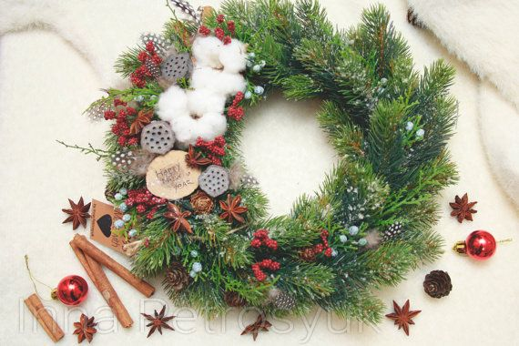 Rustic Christmas Wreath for front door. Winter by WorkshopByInnaSt