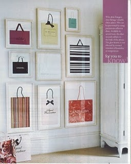 I think it would be a great idea to frame shopping backs in a walk in closet!