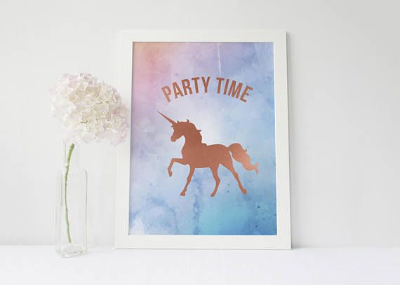 Party Time Print Rose Gold Unicorn Watercolour and Rose