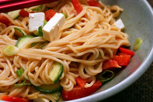 Peanut sesame noodles. I used buckwheat soba and left out the tofu and ...