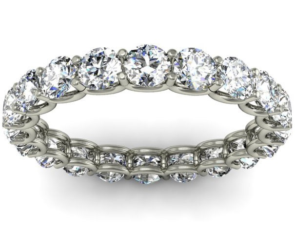 2.00cttw eternity ring featuring a u shaped setting manufactured in 14kt white or yellow gold.