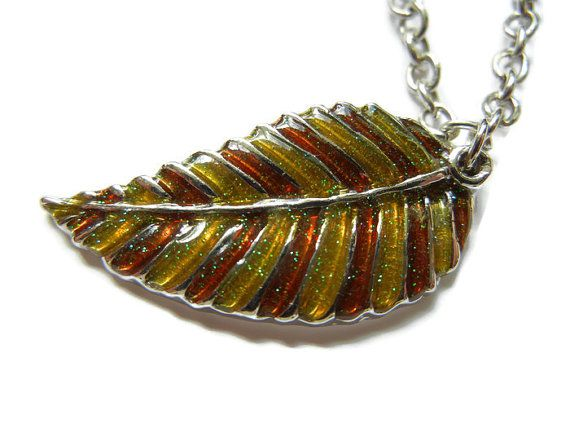 Brown boho necklace brown leaf necklace brown leaf door EraOfCrea