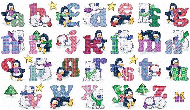 Cross Stitch Alphabet Free Printable | Maria Diaz Designs: PENGUINS/POLAR BEARS ALPHABET (Cross-stitch chart)