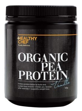 HEALTHY CHEF ORGANIC PEA PROTEIN is entirely raw, alkaline and plant based, containing all the essential amino acids your body needs to heal and nourish in a perfect environment.  It is low in fat, gluten free, low in carbohydrates and free of soy, sugar, dairy and lactose, making it suitable for those who suffer from food allergies and food sensitivities. It is ideal for vegetarians, vegans or anyone wanting to incorporate more protein into their diet and support optimum health. Available…