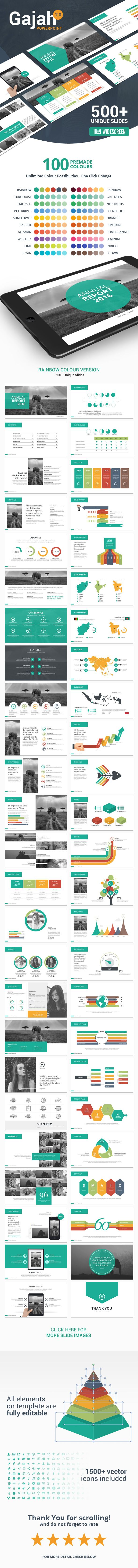 Gajah is a powerful and modern powerpoint template contains 500 total unique slides with custom and clean design for multipurpose presentation business or personal use, such a creative industry, technology, finance, etc. All elements are editable from a shape to colour no need another software to edit it, all presentations include an animated slide and transitions.