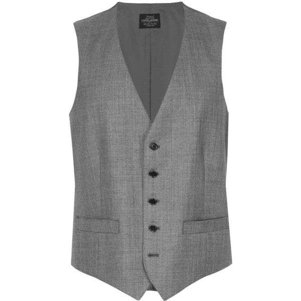 United Arrows suit waistcoat ($175) ❤ liked on Polyvore featuring men's fashion, men's clothing, men's outerwear, men's vests, grey, mens gray vest and mens grey vest