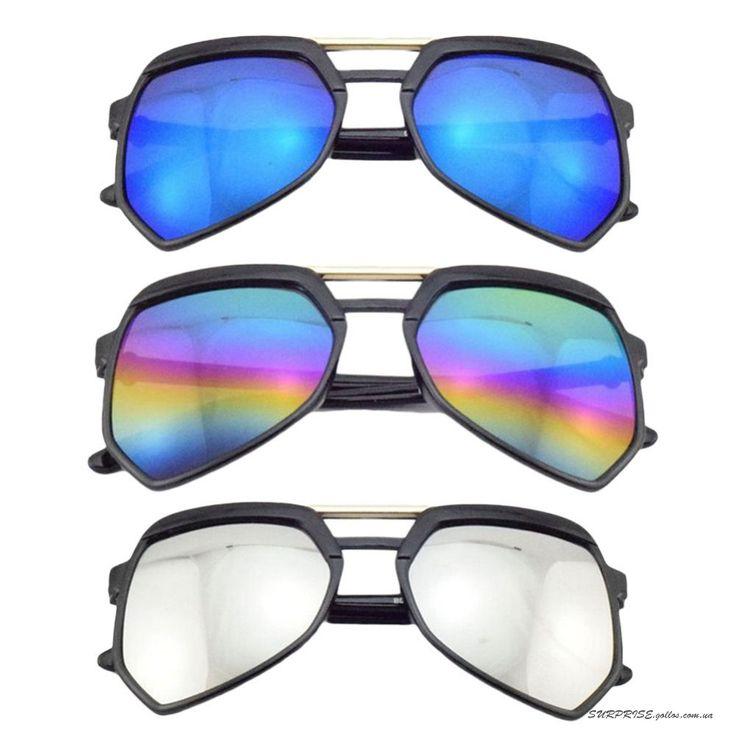 Зеркальные солнцезащитные очки-авиаторы необычной формы (в наличии радужные)