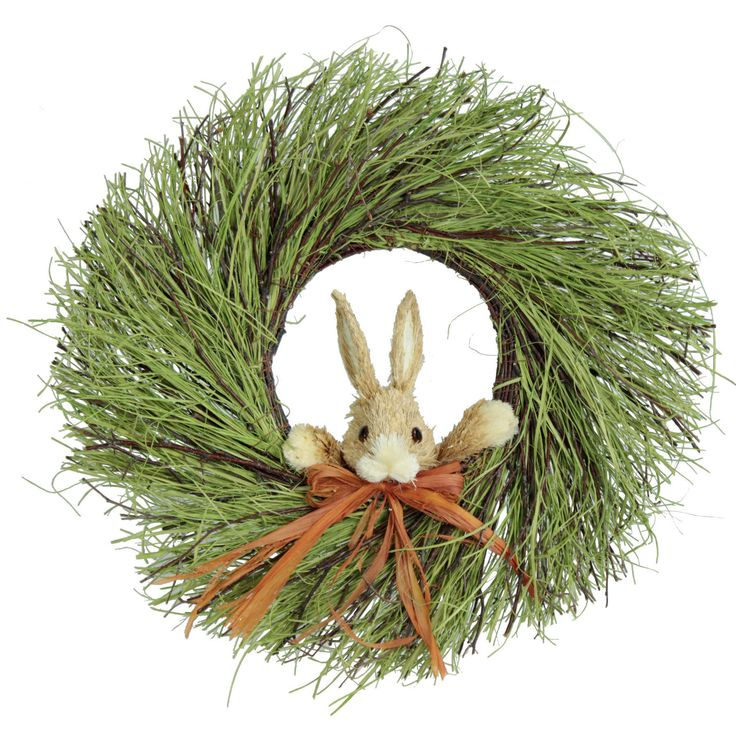 Features: -Sisal grass. -With bunny. -Bunny cannot be removed. --An inviting wreath for your front door that will greet all your guest with a smile.