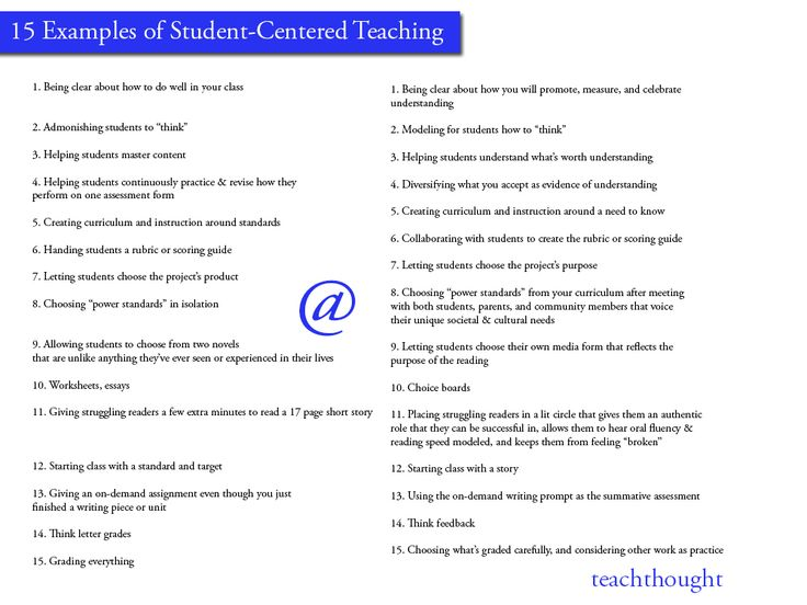 Take a look at these 15 ideas for student-centered teaching from TeachThought.