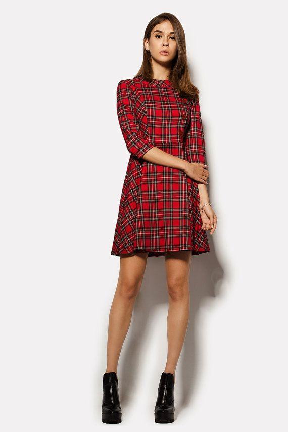 Rode geruite jurk met uitlopende rok rode jurk vrouwen Casual geruite jurk rode tartan jurk vrouwen Casual tartan jurk uitlopende geruite jurk