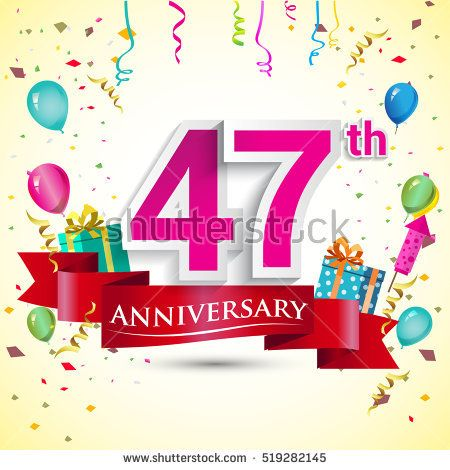 47th Years Anniversary Celebration Design, with gift box and balloons, red ribbon, Colorful Vector template elements for your birthday party.