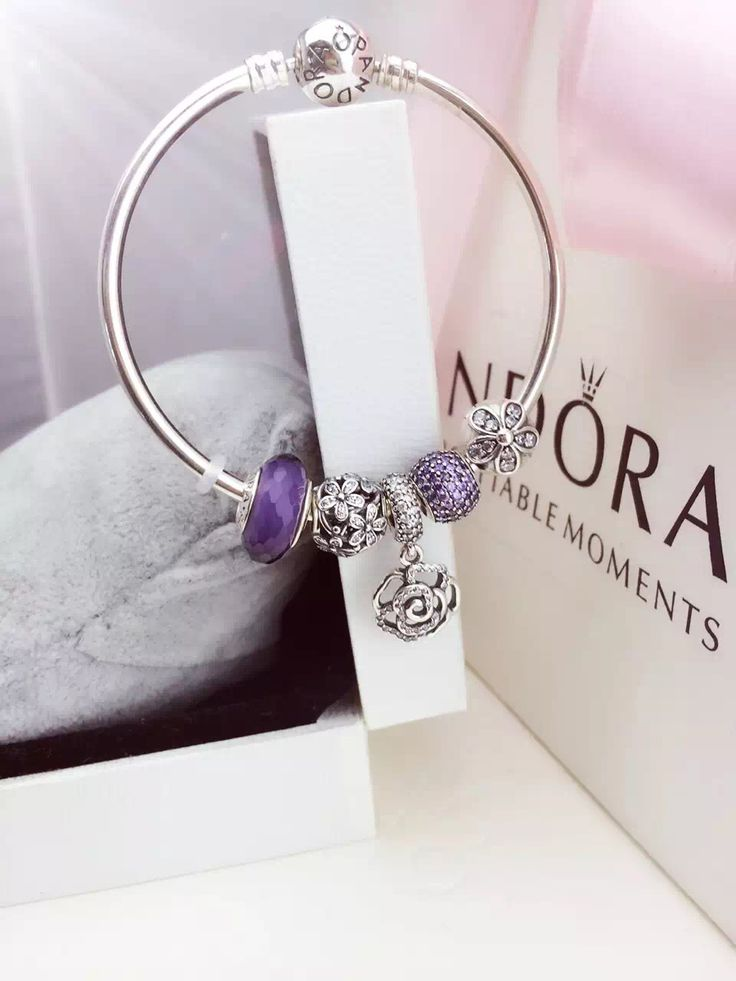 50% OFF!!! $159 Pandora Bangle Charm Bracelet Purple Flowers Christmas Sales 2015. Hot Sale!!! SKU: CB01673 - PANDORA Bracelet Ideas