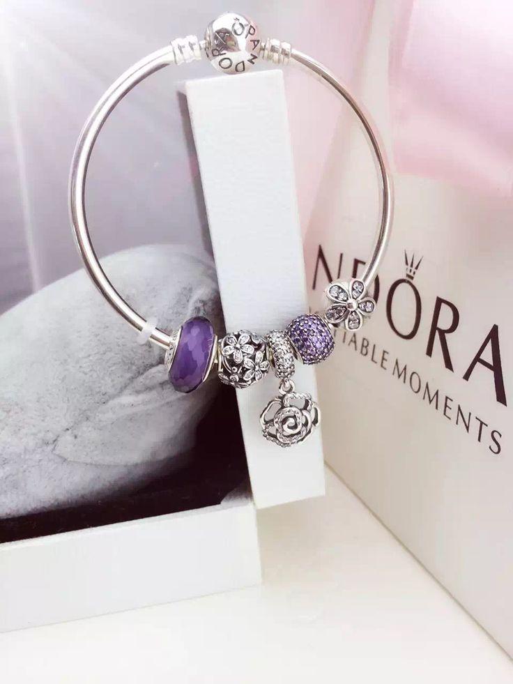 50% OFF!!! $159 Pandora Bangle Charm Bracelet Purple Flowers Christmas Sales 2015. Hot Sale!!! SKU: CB01673 - PANDORA Bracelet Ideas