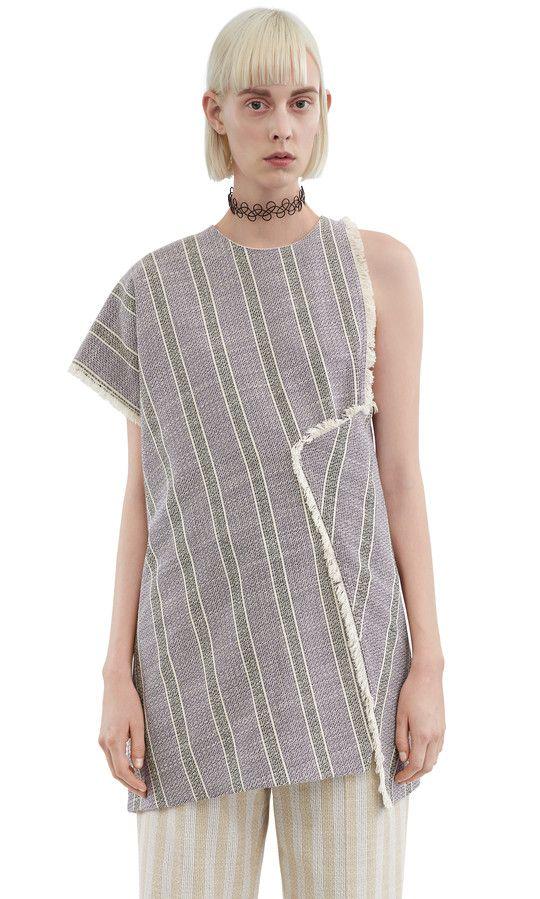 Acne Studios Grix cotton linen purple stripe top #AcneStudios
