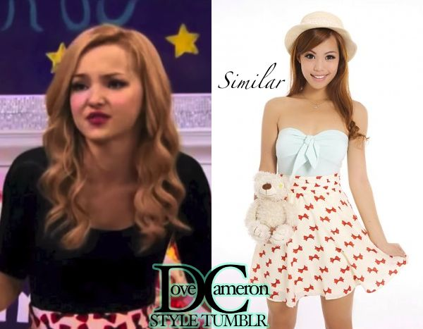 "Dove (as Liv) wore a similar bow print skirt on Liv & Maddie ""Song-A-Rooney"" Gipsy Scarlet Bow Print Skirt Price: $26 SD (approx. $20.80 USD)"
