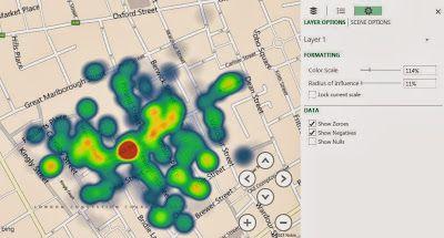 John Snow's Cholera map as a heatmap in Power Map