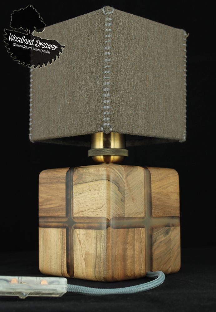 Wooden Cube Lamp Walnut Wood And Epoxy Resin Glow In The Dark Uniquelamps Wood Lamp Design Lamp Unique Lamps