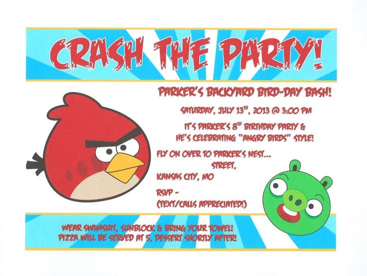 17 best images about angry birds party on pinterest for Angry birds birthday party invitation template free