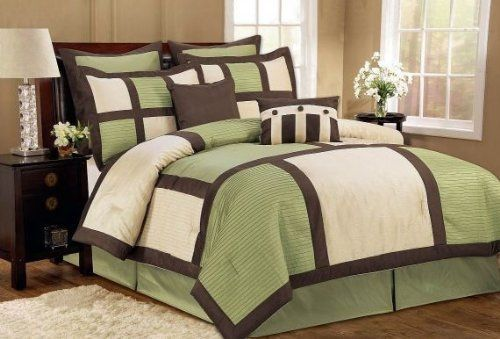 Palermo Green/Brown/Ivory Queen 8 Piece Comforter Bed In A Bag Set