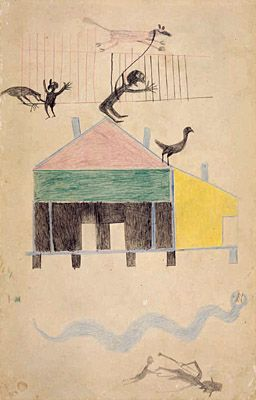 Bill Traylor, American, about 1854-1949  House with Figures and Animals (House with Figures; House with Figures and Snake)  1939  Colored pencil and graphite on cardboard