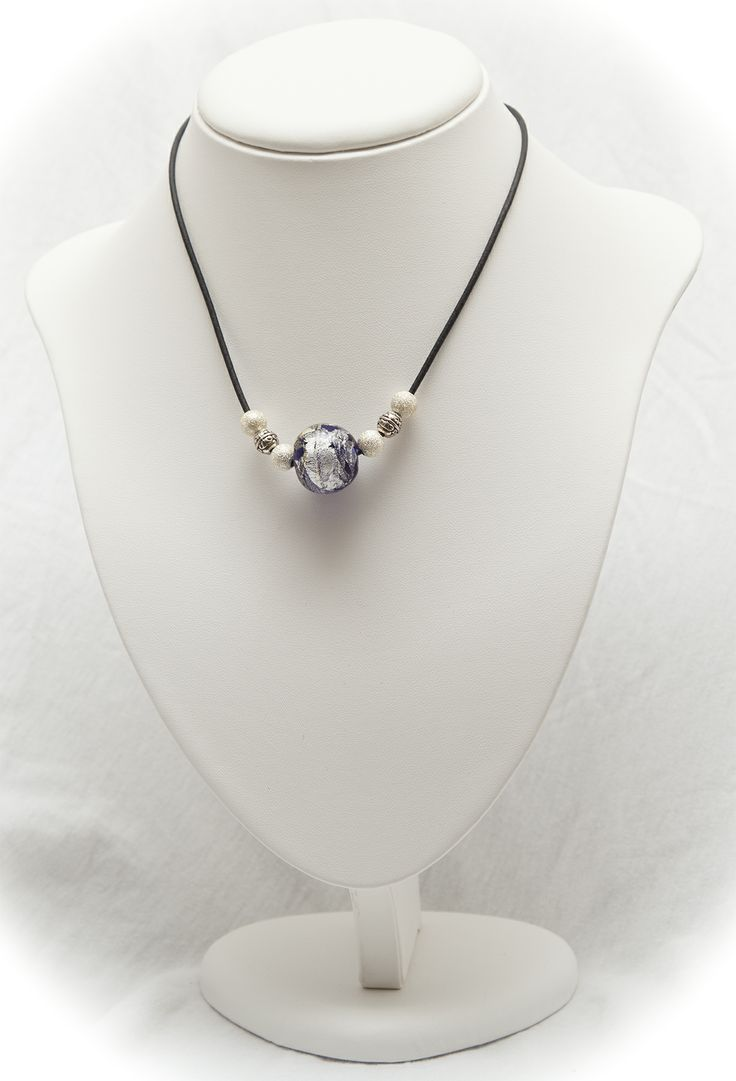 silver-foil bead with silver balls on leather thong necklace