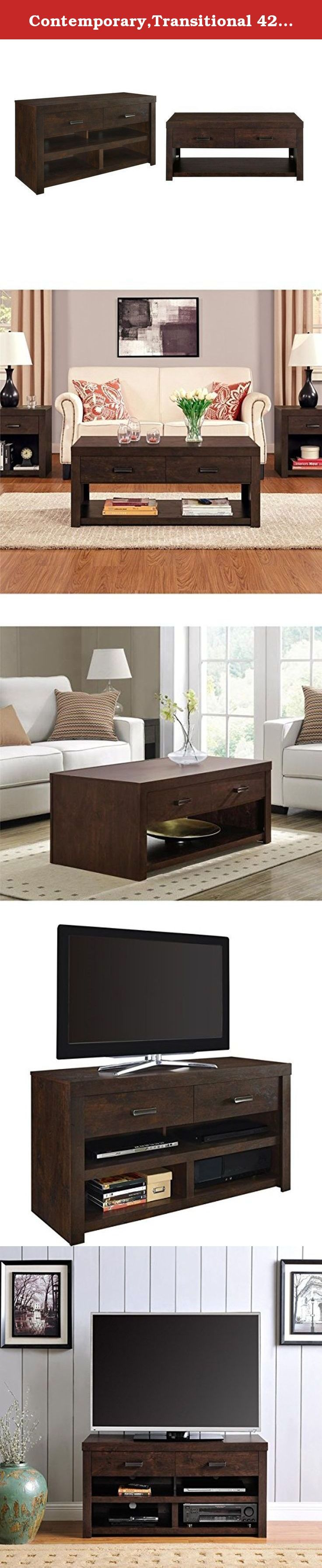 Contemporary,Transitional 42-inch TV Stand With Contemporary, Transitional Coffee Table. This beautiful TV stand accommodates up to a 42-inch flat screen TV. The four open shelves are designed to hold your DVD player, cable box, sound bar or gaming console. Use the two drawers to organize DVDs and video games.This Contemporary, Transitional 42-inch TV Stand requires assembly upon delivery. Keep your magazine or drink conveniently within arm's reach on the large top surface. Showcase your...