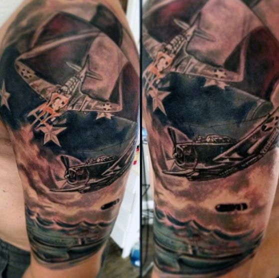 Fighter Jet And American Flag Eagle Tattoo For Men