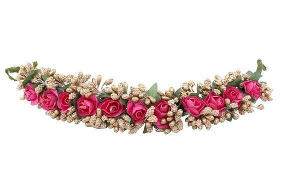 Traditional Multicolor Hair accessories Gajra Bun Juda Artificial Flower Jewelry Handmade Costume Veni Bun tiara For Women Wear Gajra Bun