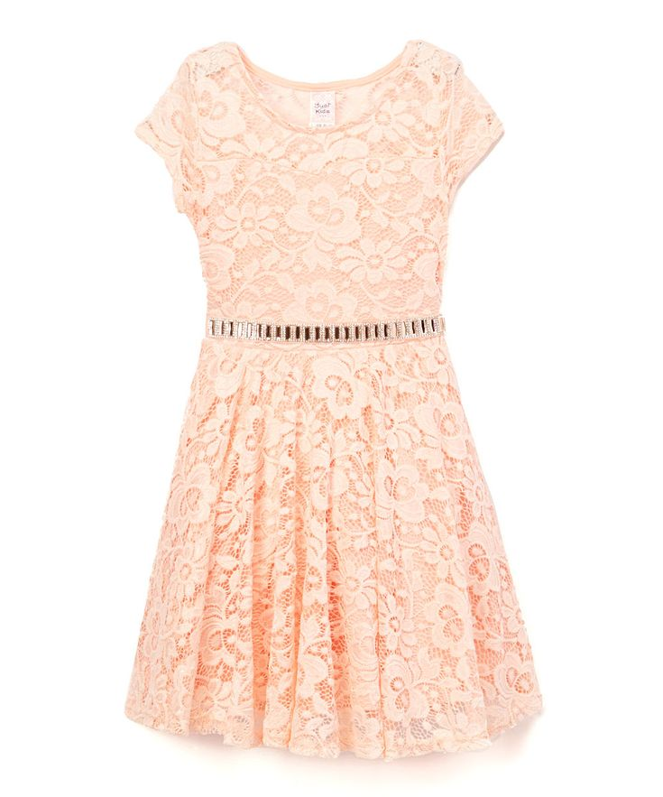 Peach Lace Belted Cap-Sleeve Dress - Toddler & Girls