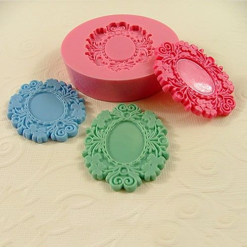 Victorian Cabochon Frame Setting Flexible Silicone Mold/Mould  for Crafts, Jewelry, Scrapbooking, (soap, resin,  pmc, polymer clay) (220). $6.75, via Etsy.