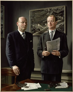 """Dubbelportret van de heren A. en J. Klep (Double Portrait of Messrs A. and J. Klep)"" a.k.a. ""Het overleg (The Consultation)"", 1957 / Carel Willink (1900-1983) / Private Collection"