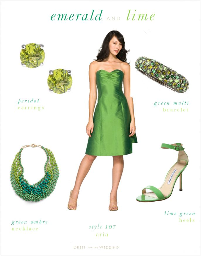 Emerald Green Bridesmaids Dress and Lime Green Accessories