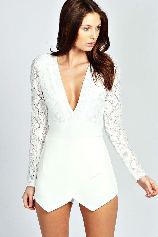 Womens ladies mini dress party playsuit romper jumpsuit white skort size 10 12 #ExclusiveToFashionG #jumpsuit #Party