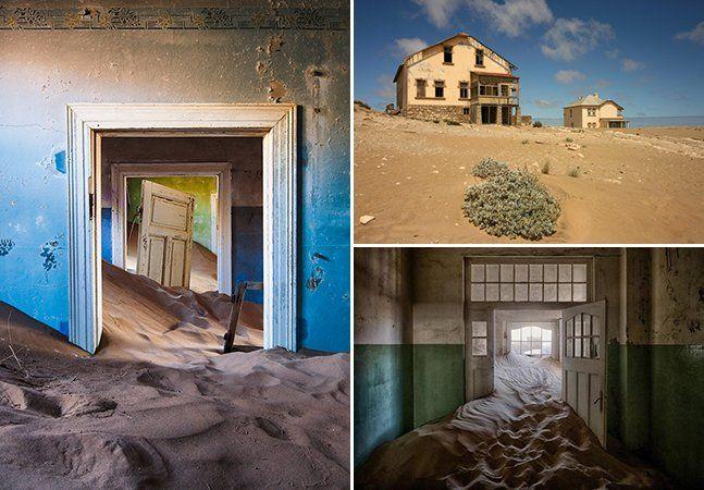 """Os lugares abandonados ao redor do mundo, muitas vezes descritos como """"Cidades Fantasma"""", instigam a curiosidade. Como é ir num local onde não há mais pessoas e a única vida que permanece é a da natureza? Em Kolmanskop, na Namíbia, o deserto acabou invadindo as casas.Os lugares abandonados ao redor do mundo, muitas vezes descritos como """"cidade fantasma"""", instigam a curiosidade. Como é ir num local onde não há mais pessoas e a única vida que permanece é a da natureza? Em Kolmanskop, na…"""