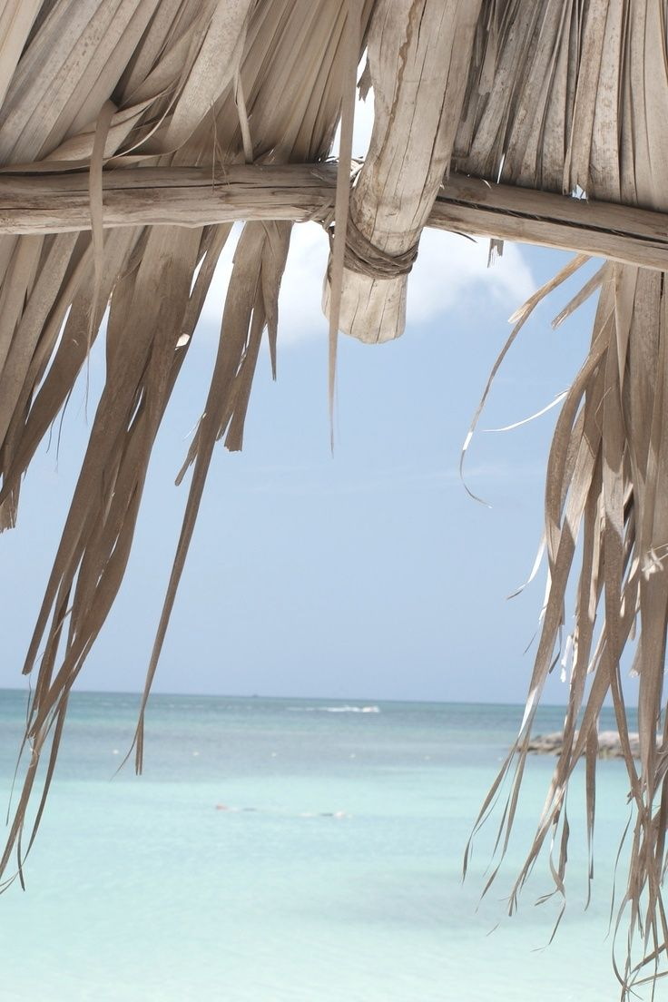 Thatched roof hut cabana at the beach on a summer day by the ocean #sea #tropicalIsland #vacation For MORE coastal lifestyle FOLLOW http://www.pinterest.com/happygolicky/beach-beach-beach-off-to-the-coastal-chic-cottage-/ now