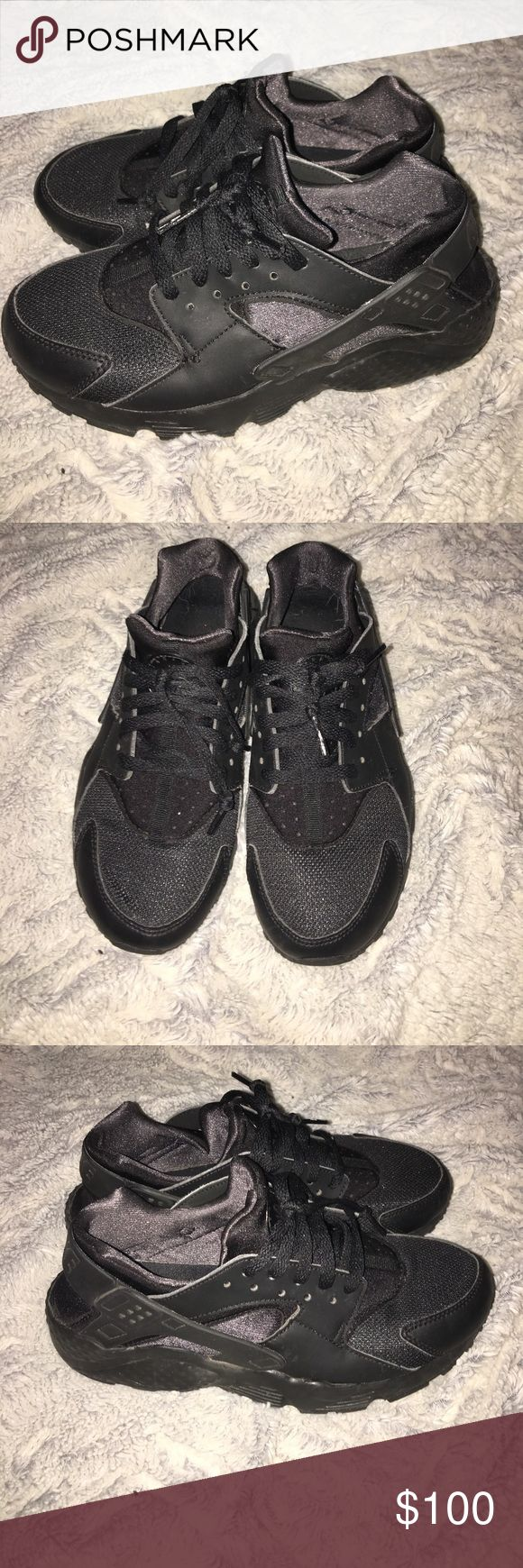 All Black Huaraches All black Nike Huaraches in excellent condition! They are a size 5.5 youth which is a woman's 7 Nike Shoes Sneakers