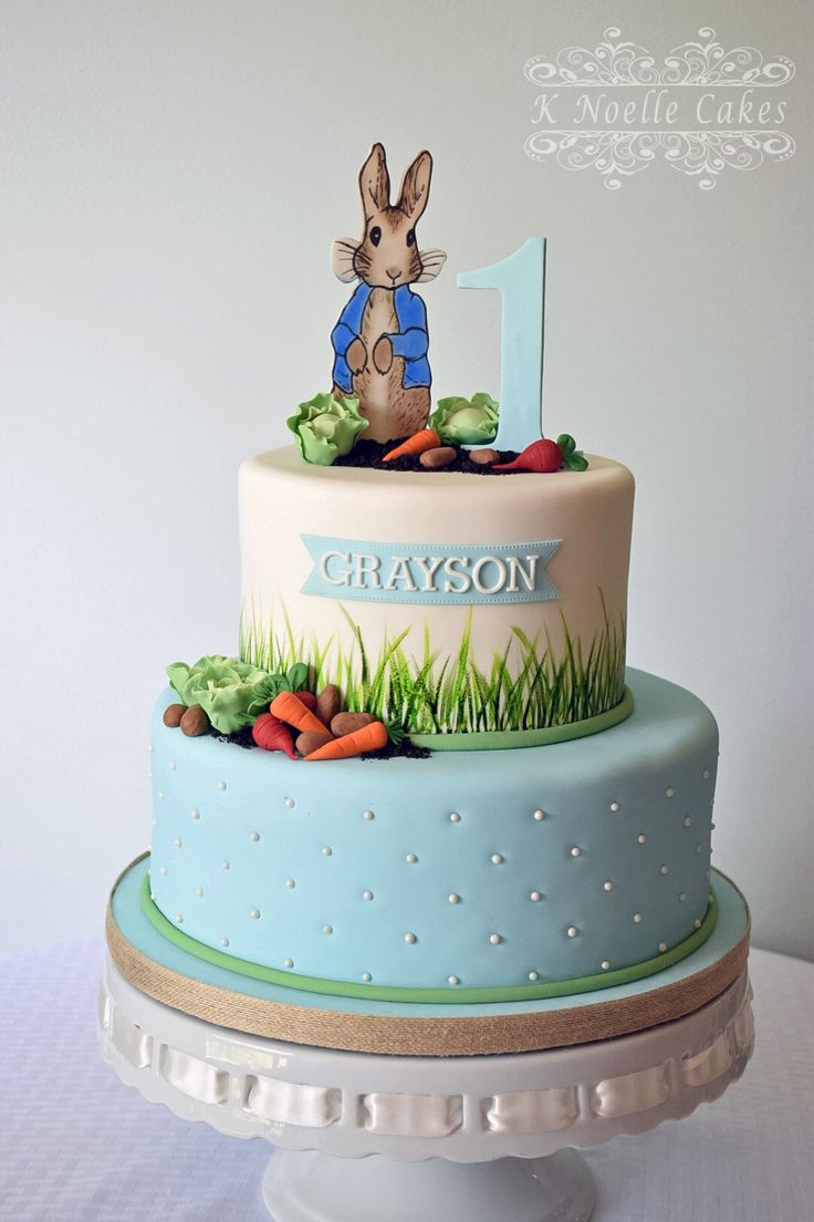 Peter Rabbit themed 1st birthday cake By K Noelle Cakes