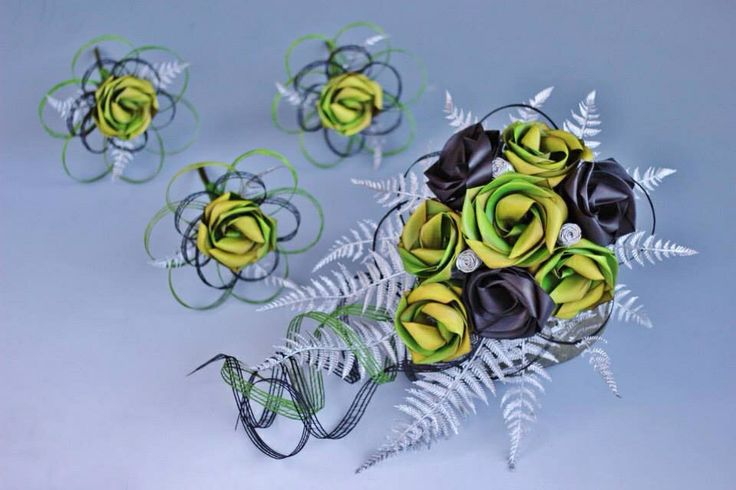 Brides water fall bouquet with flower girl single flower posy's in lime & black with silver fern. www.flaxation.co.nz