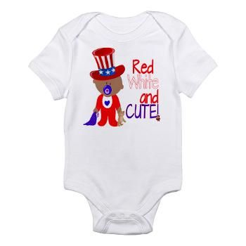 Onesie with patriotic theme. Great for Fourth of July celebration.  Available in three colors. Children's clothing with this design begin at $11.99. http://www.cafepress.com/daniesgranny.1602035233