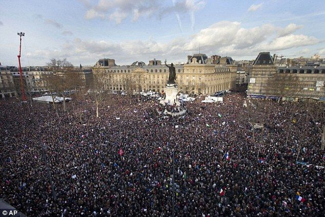EN MASSE: An estimated 1.3million people gathered at Republique Square in Paris, France on Sunday to demonstrate against the recent terrorist attack at the Charlie Hebdo offices which resulted in the death of more than a dozen people