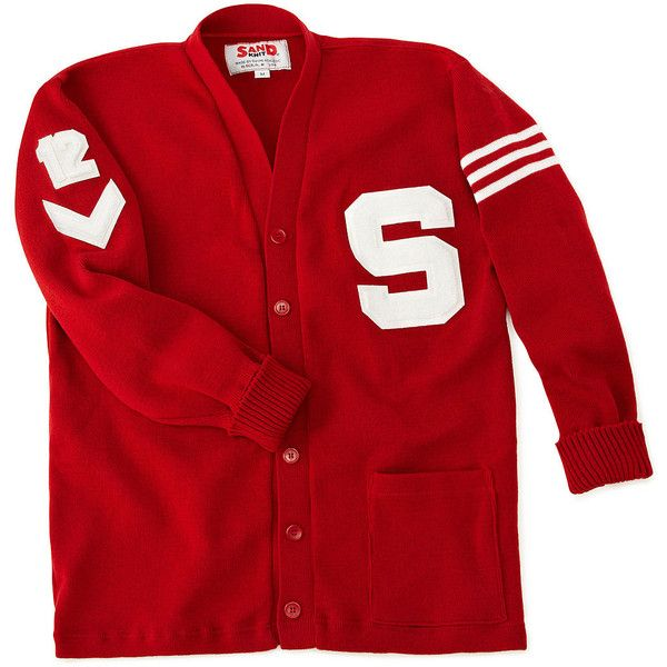 CUSTOMIZED LETTERMAN SWEATER | Custom Varsity Cardigan With Letter &... (3 440 UAH) ❤ liked on Polyvore featuring tops, sweaters, patch sweater, red top, red sweater et letter sweater