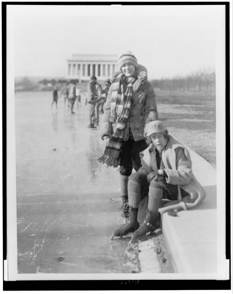 Ice Skating On Reflecting Pool With Lincoln Memorial