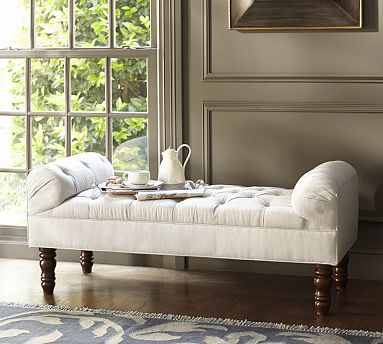 Lorraine Tufted Upholstered Bench, Full, Performance Tweed