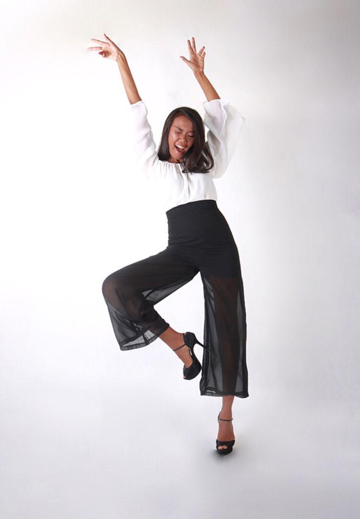 Off white shoulder top with black culotte #unfairytaleme at wwww.jakartafashionhouse.com