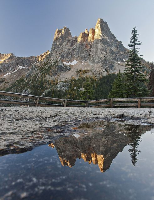Liberty Bell Reflected from the Washington Pass Overlook, Highway 20, North Cascades Highway by i8seattle, via Flickr