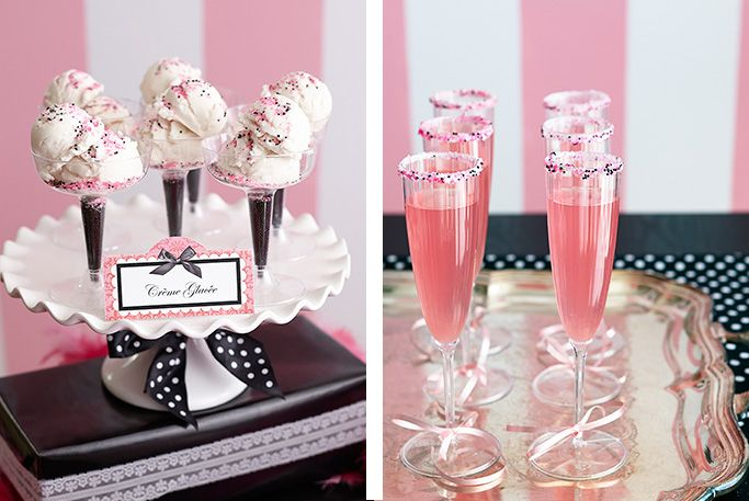 ParisDamask-Food-3 ( The ice cream in champagne glasses is so cute!  I like the sprinkle rimmed drinks as well!)